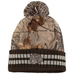 quality design cdb30 7ba08 Men s Chicago Blackhawks Old Time Hockey Camo Brown Realtree Xtra Cuffed  Knit Hat With Pom