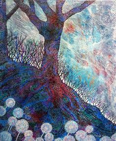 Winter Tree Patterns - Mixed Media on Canvas Board