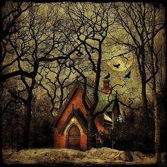 vintage halloween fall image | ... night: Moon, Art, Cottages, House, Place, Woods, Fairytale, Halloween