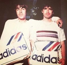 Oasis: Liam and Noel Gallagher Oasis Brothers, Liam Gallagher Noel Gallagher, Oasis Live Forever, Oasis Band, Adidas Nmd R2, Adidas Gazelle, Liam And Noel, Britpop, Indie Music