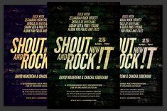 Shout and Rock Flyer by KiraYamato Design Studio on Concert Flyer, Flyers, Indie, Rock, Studio, Words, Design, Ruffles, Skirt