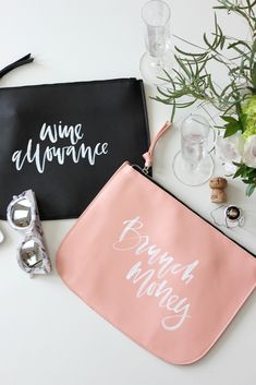 Hand Lettered Happy Hour and Brunch Clutches