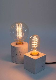 Geometric Concrete Edison Bulb Lamps. See the 2017 lighting trends DIY crafters will love: http://bit.ly/2qn3eio