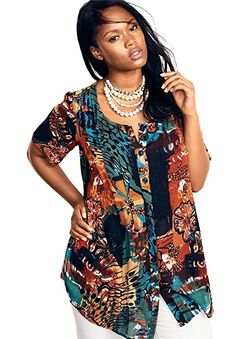 c849deab86fcf Roamans Women's Plus Size Angelina Tunic In Crinkle Crepe at Amazon Women's  Clothing store: Plus