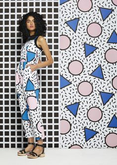 Spring 2015 - Australian fashion label Gorman collaborates with London based designed Camille Walawa on a Memphis inspired textile collection. Motifs Textiles, Textile Patterns, Print Patterns, 80s Design, Print Design, Nail Design, New Fashion Trends, 80s Fashion, Camille Walala