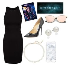 """Veronica Lodge(riverdale)"" by taryngallion ❤ liked on Polyvore featuring Saks Fifth Avenue, Jimmy Choo and AK Anne Klein"