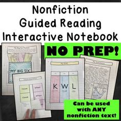 Guided Reading Interactive Notebook that can be used with ANY nonfiction text. NO PREP!