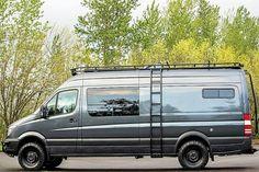 Safari Roof Rack - Outside Van - van life Mercedes Camper, Vw Lt Camper, Camper Life, Mercedes Benz, Sprinter Van Conversion, Camper Van Conversion Diy, Ford Transit Campervan, Custom Camper Vans, 4x4 Van