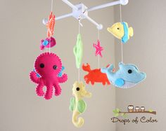 Baby Crib Mobile - Baby Mobile - Nursery Crib Mobile - Ocean Mobile - Under the Sea Creatures Whale, Seahorse (You can Pick your colors) by dropsofcolorshop on Etsy https://www.etsy.com/listing/154139756/baby-crib-mobile-baby-mobile-nursery
