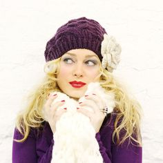 Purple Ivory Slouchy Hat  READY TO SHIP by mojospastyle on Etsy, $36.00
