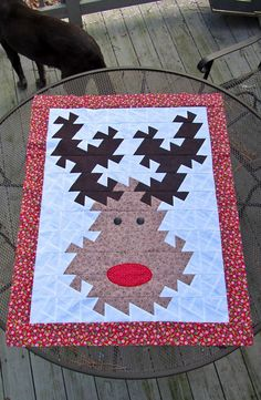 Fun quilt using the mini twister tool, Rudolph Twister Quilt by Dottie