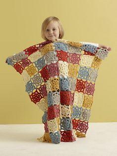 Summer Flower Baby Crochet Throw by Lion Brand Yarn