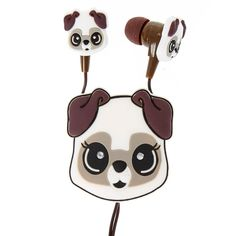 White Pug Earbuds with Winder