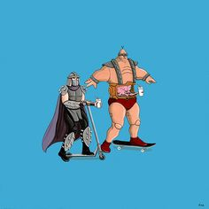 Shredder and Krang Ride... Illustrated Series of TV & Movie Characters On Their Days Off by Kiersten Essenpreis