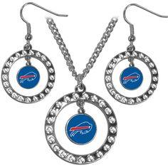 Buffalo Bills Rhinestone Hoop Jewelry Set