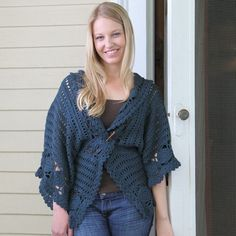 "Ice Glen Cardigan | crochet cardigan pattern by Sara Delaney, sizes up to 52"" bust. A nice layering piece that can be left loose or secured at the waist or under the bust."