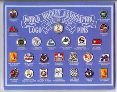 WHA logo pins. Hockey Games, Pro Hockey, Blackhawks Hockey, Chicago Blackhawks, Hockey Stuff, Hockey Logos, Sports Team Logos, Houston Aeros, Hockey World