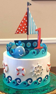 Nautical cake by Millie Colin made with our Ebb & Flow Silicone Onlay Beautiful Cakes, Amazing Cakes, Fondant Cakes, Cupcake Cakes, Marine Cake, Rodjendanske Torte, Boat Cake, Nautical Cake, Sea Cakes