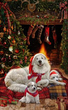 """New for 2014! Great Pyrenees Christmas Holiday Cards are 8 1/2"""" x 5 1/2"""" and come in packages of 12 cards. One design per package. All designs include envelopes, your personal message, and choice of greeting.Select the inside greeting of your choice from the menu below.Add your custom personal message to the Comments box during checkout."""