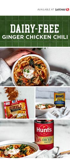 Make this Dairy-Free Ginger Chicken Chili in a pressure cooker in under 30 minutes or let it simmer all day in the slow cooker. Ginger Chicken, Chicken Chili, Chili Seasoning Mix, Fire Cooking, No Bean Chili, Game Day Food, Tomato Paste, Slow Cooker Chicken, Dinner Menu