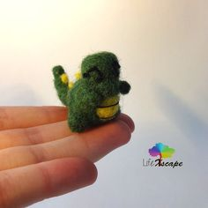 "Needle Felted Miniature: little dinosaur says ""Raaawr!"".. in a tiny voice!"