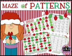 24 pattern mazes for students. Includes practice for AB, AAB, ABB, and ABC patterns.