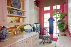 Atlanta Symphony Orchestra Decorators' Show House 2013.  Chinoiserie Luxury Laundry Lounge designed by Loren Audrey Taylor, Allied ASID, Founder and Principal of Anna Abrams Design. Photograhy by Christina Wedge Photography.