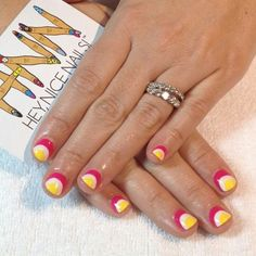 Pink/white/yellow nails like this idea