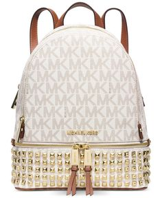 MICHAEL Michael Kors Rhea Zip Small Studded Backpack Signature Vanilla *** Check this awesome product by going to the link at the image. (This is an affiliate link) Studded Backpack, White Backpack, Backpack Travel Bag, Small Backpack, Backpack Straps, Sac Michael Kors, Michael Kors Backpack, Michael Kors Outlet, Handbags Michael Kors