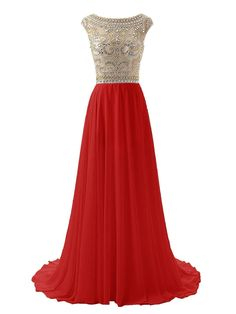 SDRESS Women's Beaded Crystal Cap Sleeve Illusion Crewneck Prom Homecoming Dress Red Size 8. Chiffon fabric; Dry clean only. Illusion crewneck with cap sleeve. Embellished with beadings, sequines and crystals. Zipper closure, A-line sweep train style. Made-to-order product, you can receive it in 2 weeks if u choose expedited shipping.