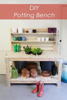 DIY potting bench - easy build for beginners and has storage for potting soil!  Pot Shot - www.bowerpowerblog.com