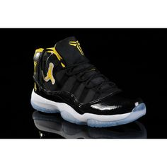 hot sale online 5e628 76650 New Nike Jordan 11 Basketball Shoes Black Yellow J11-165 via Polyvore  Jordan 11