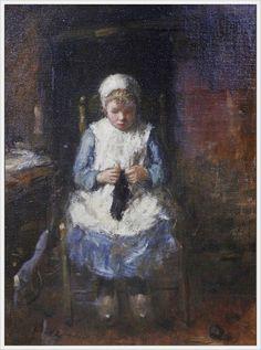 Robert Gemmell Hutchison (British, 1855-1936) «The knitting girl» @@@@....http://www.pinterest.com/mashrie/art5-town-house-people/