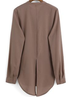 Brown Stand Collar Split Back Chiffon Blouse
