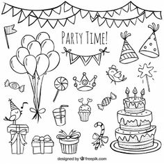 Awesome Image of Birthday Cake Drawing . Birthday Cake Drawing Birhday Elements Hand Drawn Set With Birthday Cake Baloons Bujo Doodles, Planner Doodles, Doodle Lettering, Sketch Notes, Doodle Drawings, Doodle Doodle, Bullet Journal Inspiration, Doodle Inspiration, Design Inspiration