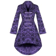 WOMENS NEW PURPLE GOTHIC STEAMPUNK MILITARY ROCKABILLY FLOCKED TATTOO COAT « steamwear.co.ukOne Stop Steampunk Shop steamwear.co.uk