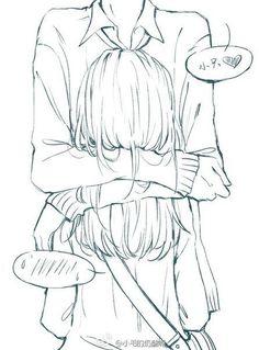 ✮ ANIME ART ✮ anime couple. . .hug. . .speech bubbles. . .emoticon. . .embarrassed. . .lineart. . .drawing. . .doodle. . .cute. . .kawaii:
