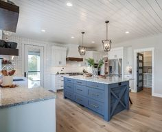 Blue kitchen island Farmhouse blue kitchen island Blue kitchen island Farmhouse blue kitchen island design #Bluekitchenisland #Farmhousebluekitchenisland See complete house tour and sources on Home Bunch blog