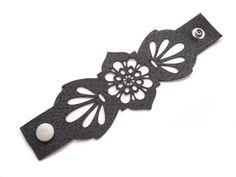 Leather cuff bracelet laser cut in grey leather by EmilydeMolly