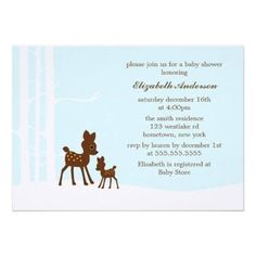 Winter Forest Baby Shower Invitations