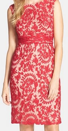 Red lace floral evening dress