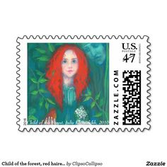 """Child of the Forest"", red haired girl, green shades postage #red, #hair, #haired, #green, #forest, #magical, #fantasy, #art, #orange, #green, #ginger, #celtic, #irish, #dryad, #ireland, #girl, #painting, #drawing, #fairytale, #pagan, #child, #pastel, #redhead, #emerald, #faerie, #bird, #kid, #hair, #red, #magic, #goddess, #fairy, #Erin, #stpatrickday,  #st, #saint, #patrick, #patricks, #day, #print, #printed, #postage, #stamp, #poststamp"