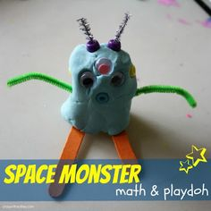 space monster math playdoh Monster Math Games & Activities with loads of free printables for preschool, kindergarten, and first grade