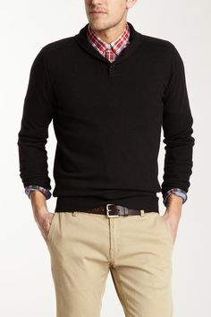 Black High Shawl Collar Cotton Wool Blend Sweater by Ben Sherman on @HauteLook