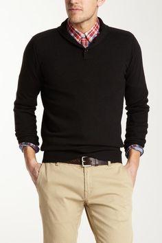 Black High Shawl Collar Cotton Wool Blend Sweater by Ben Sherman on @HauteLook