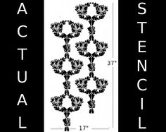 Wall STENCIL Reusable Damask Honeysuckle by OliveLeafStencils