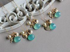 Beach+Wedding+Bridesmaid+Necklaces+Set+of+6+by+LRoseDesigns,+$242.50