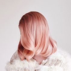 Curled Long Bob with Shiny Rosy-Blonde Coloring