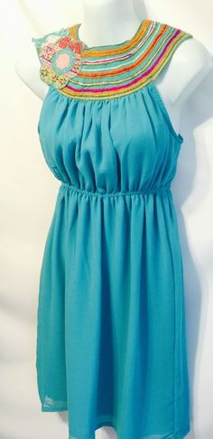 Judith March Anthropologie Teal Flower Applique Sleeveless Summer Dress Cruise S #JudithMarch #Sleeveless #Casual