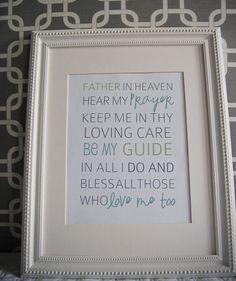 8x10 print bedtime prayer father in heaven hear my prayer. $10.00, via Etsy.